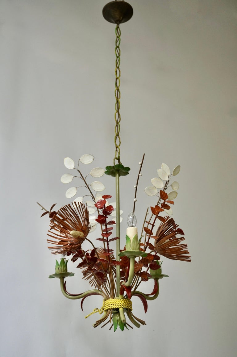 20th Century Italian Tole Painted Floral Chandelier Light Fixture