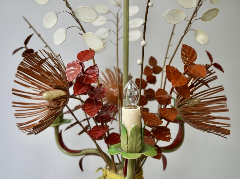 Italian Tole Painted Floral Chandelier Light Fixture 1