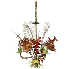 Italian Tole Painted Floral Chandelier Light Fixture