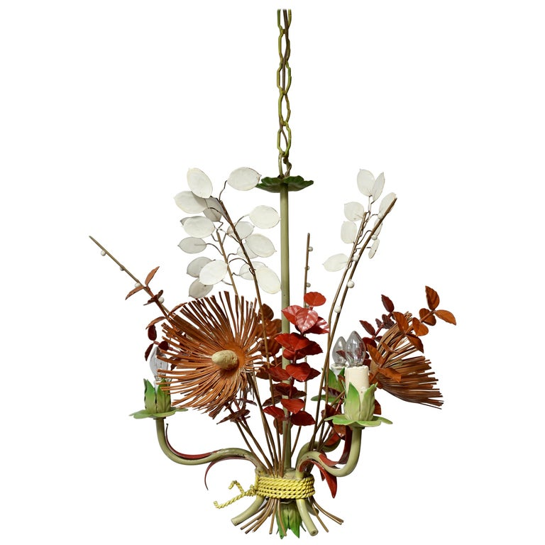 Italian Tole Painted Floral Chandelier Light Fixture