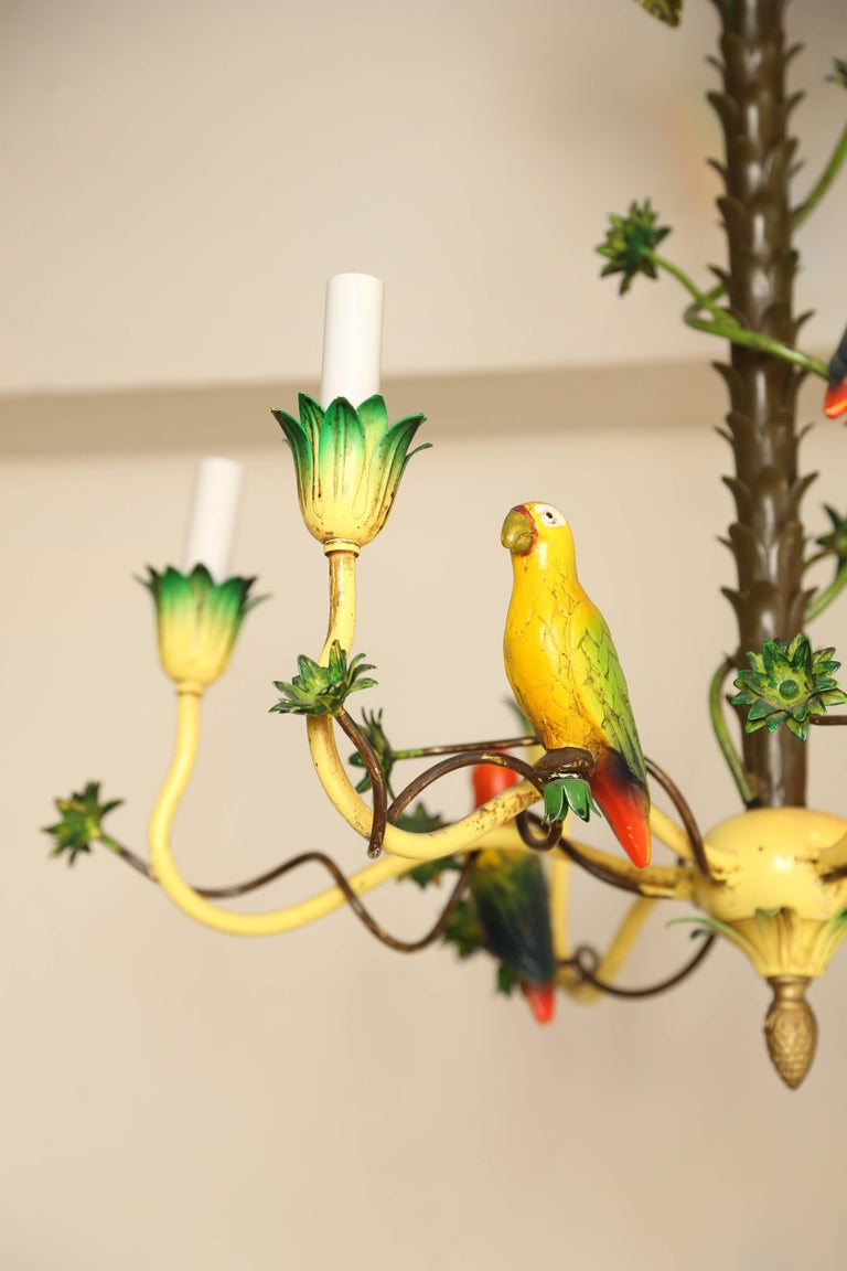 Italian tole palm tree and bird chandelier for sale at 1stdibs whimsical and colorful italian tole fixture of a palm tree with birds arubaitofo Gallery