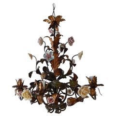 Italian Tole Polychrome Porcelain Roses and Flowers Chandelier, 1870