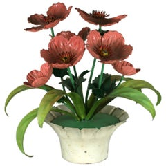 Italian Tole Potted Poppies Table Ornament