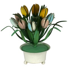 Italian Tole Potted Tulips Table Ornament