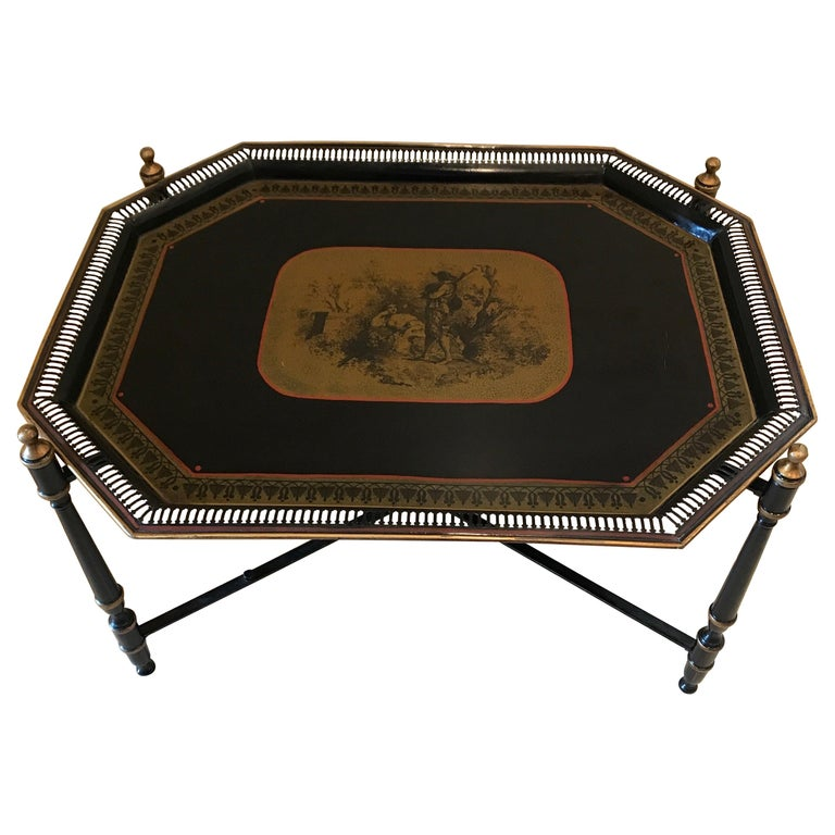 Italian Tole Tray Table For Sale