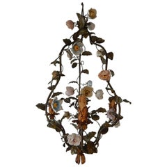 Italian Tole with Porcelain Flowers Polychrome Chandelier, circa 1870