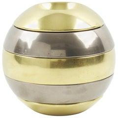 Tommaso Barbi Chrome Brass Stacked Tray Bowl Box