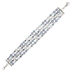 Italian Topaz Blue White Sapphire Diamonds 5Rows White 18k Gold Bracelet for Her