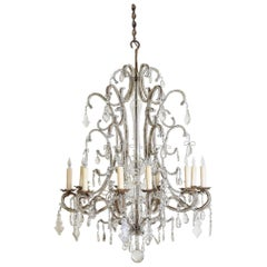Italian Torino Gilt Iron Metal and Blown Glass 10-Light Chandelier, 19th Century