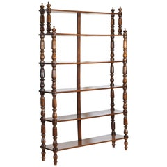 Italian, Torino, Piemonte, Tall Turned Walnut Etagere, circa 1840