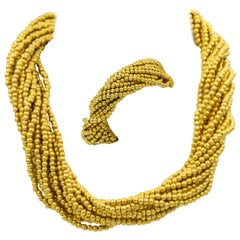Italian Torsade Yellow Gold Bead Bow Clasp Necklace and Bracelet Set Suite