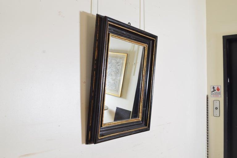 Baroque Italian, Toscana, Giltwood and Ebonized Mirror, Mid 17th Century For Sale