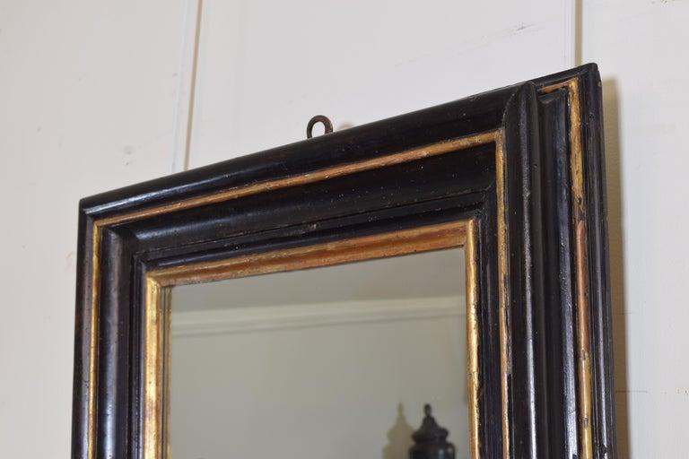Italian, Toscana, Giltwood and Ebonized Mirror, Mid 17th Century In Good Condition For Sale In Atlanta, GA