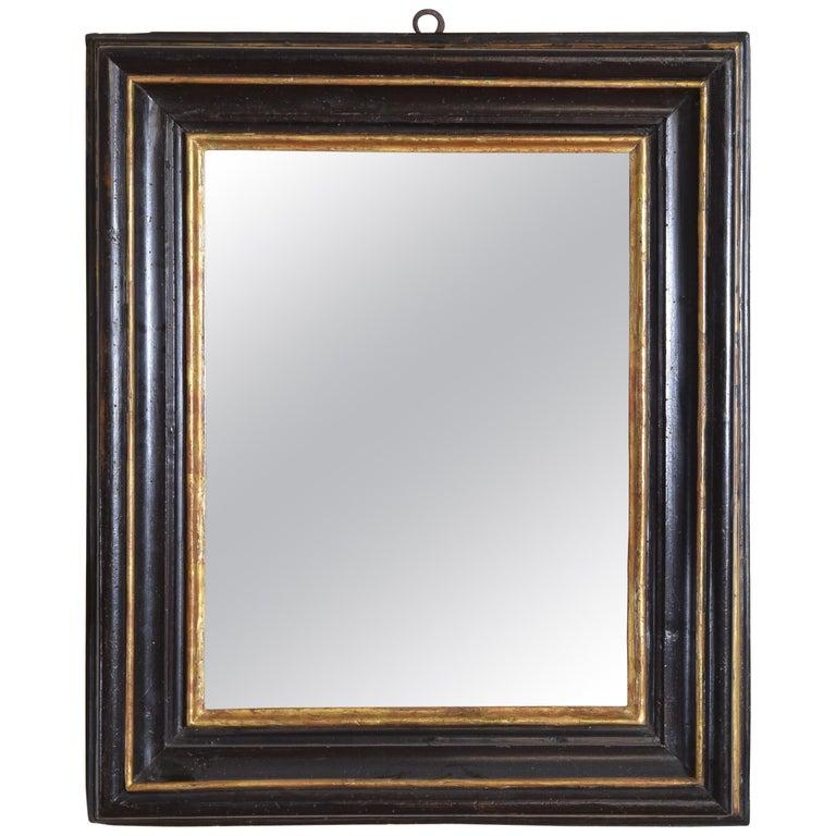 Italian, Toscana, Giltwood and Ebonized Mirror, Mid 17th Century For Sale