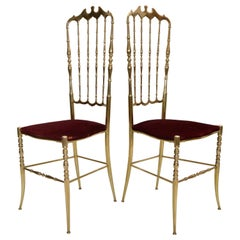 Italian Traditional Chiavari Bronze High Back Chairs Mid-Century Modern, Pair