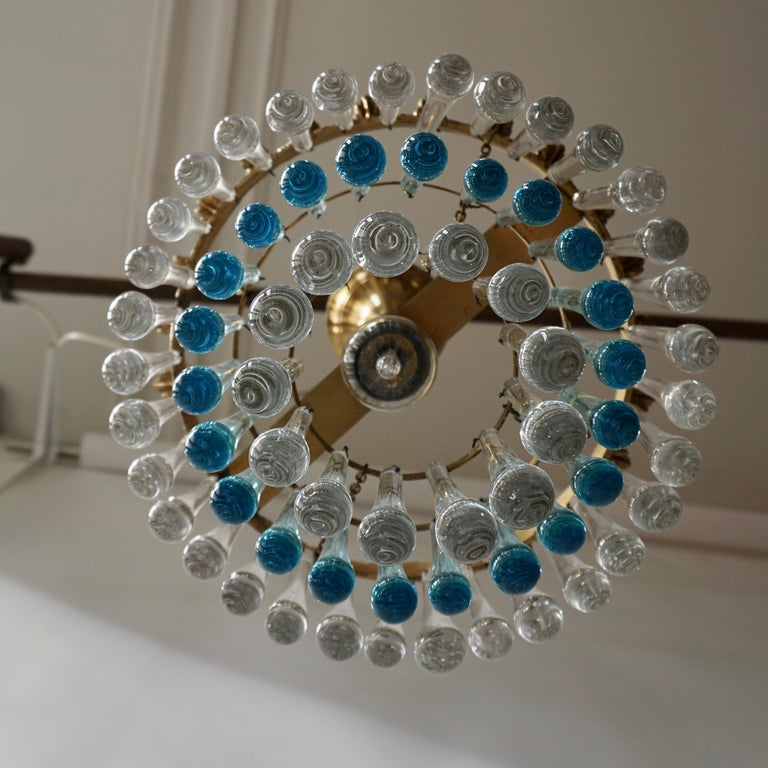 20th Century Italian Transparent and Blue Crystals Tear Drop Chandelier For Sale