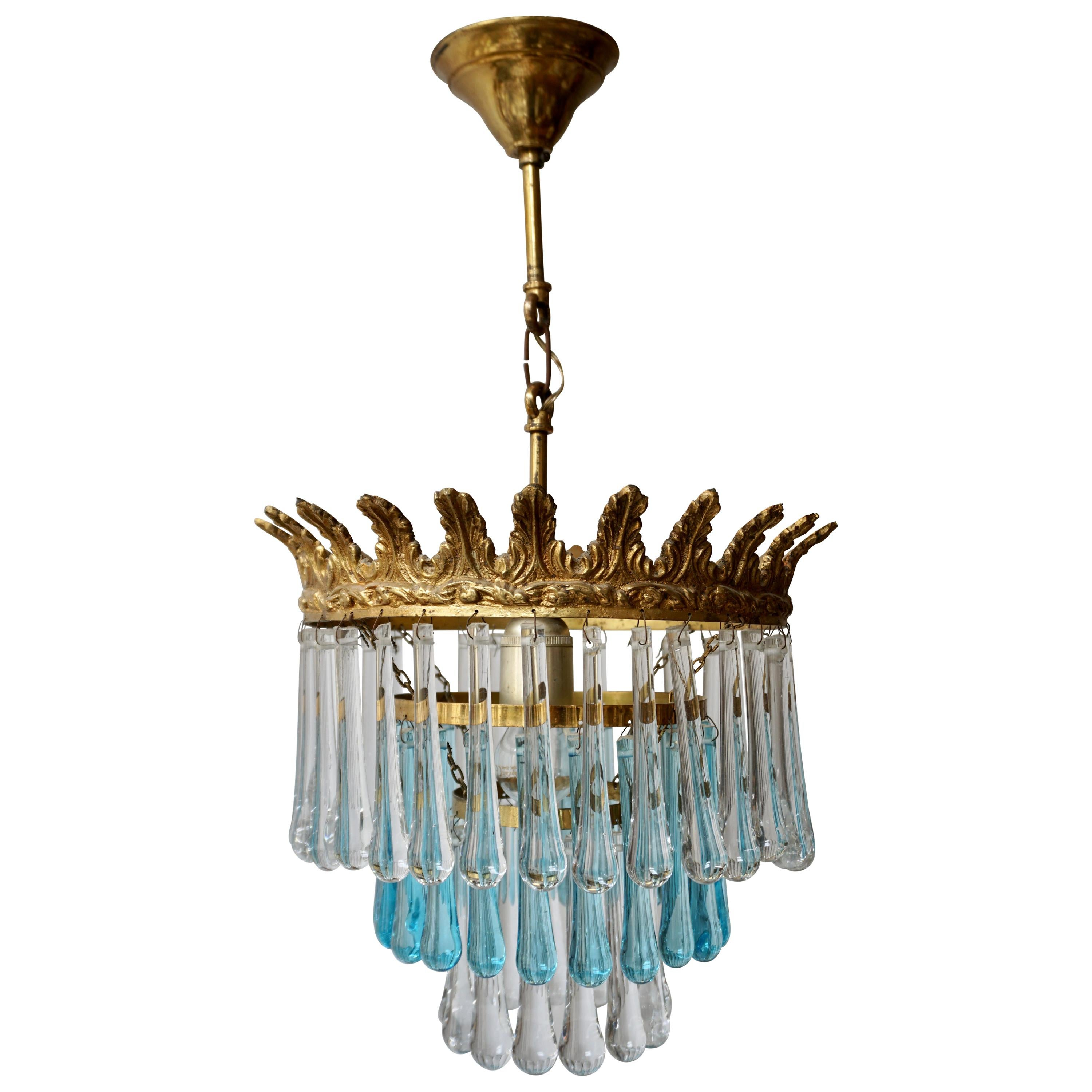 Italian Transparent and Blue Crystals Tear Drop Chandelier