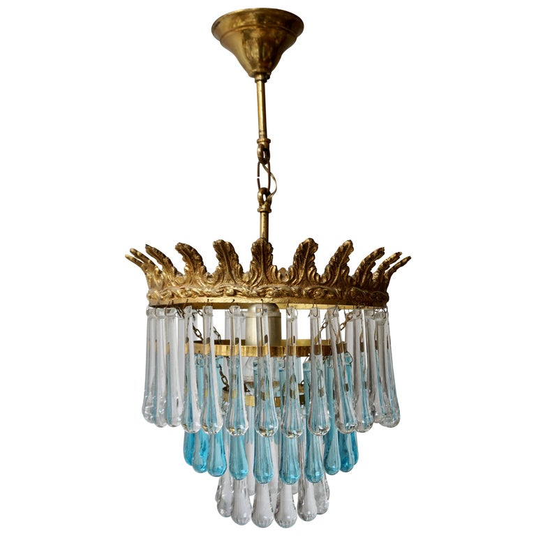 Italian Transparent and Blue Crystals Tear Drop Chandelier For Sale