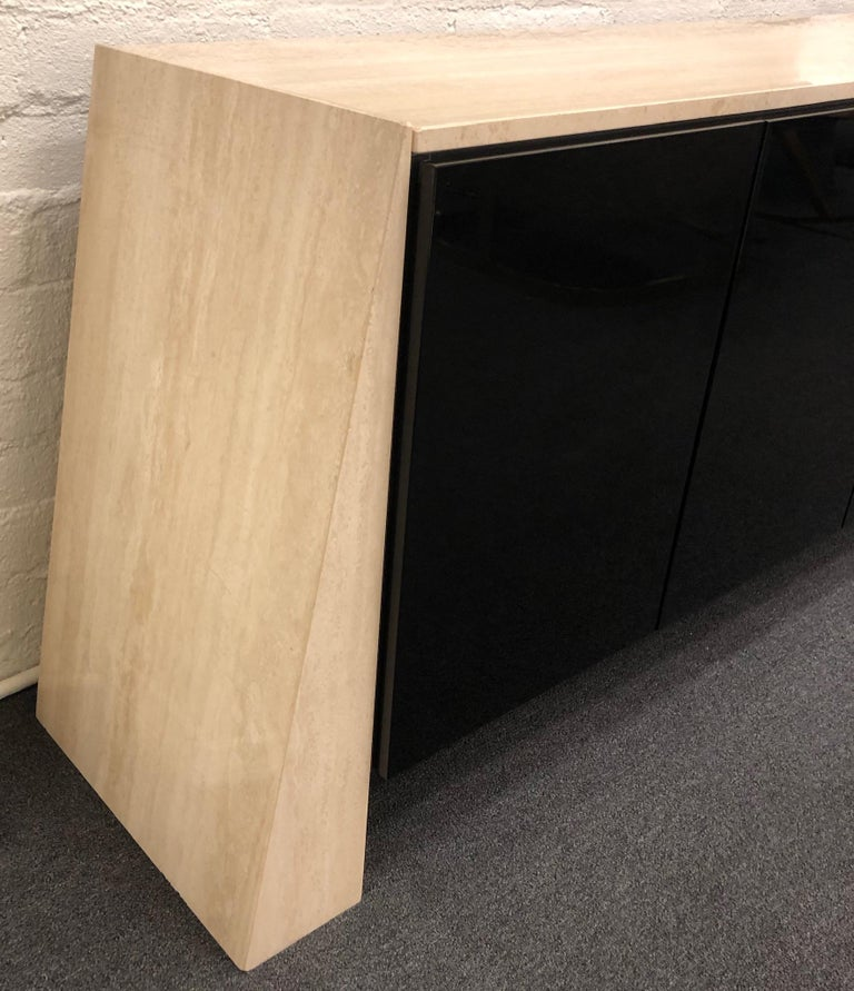 Polished Italian Travertine and Black Lacquered Credenza For Sale