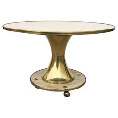 "Italian Travertine and Brass Center / Dining Table by William ""Billy"" Haines"