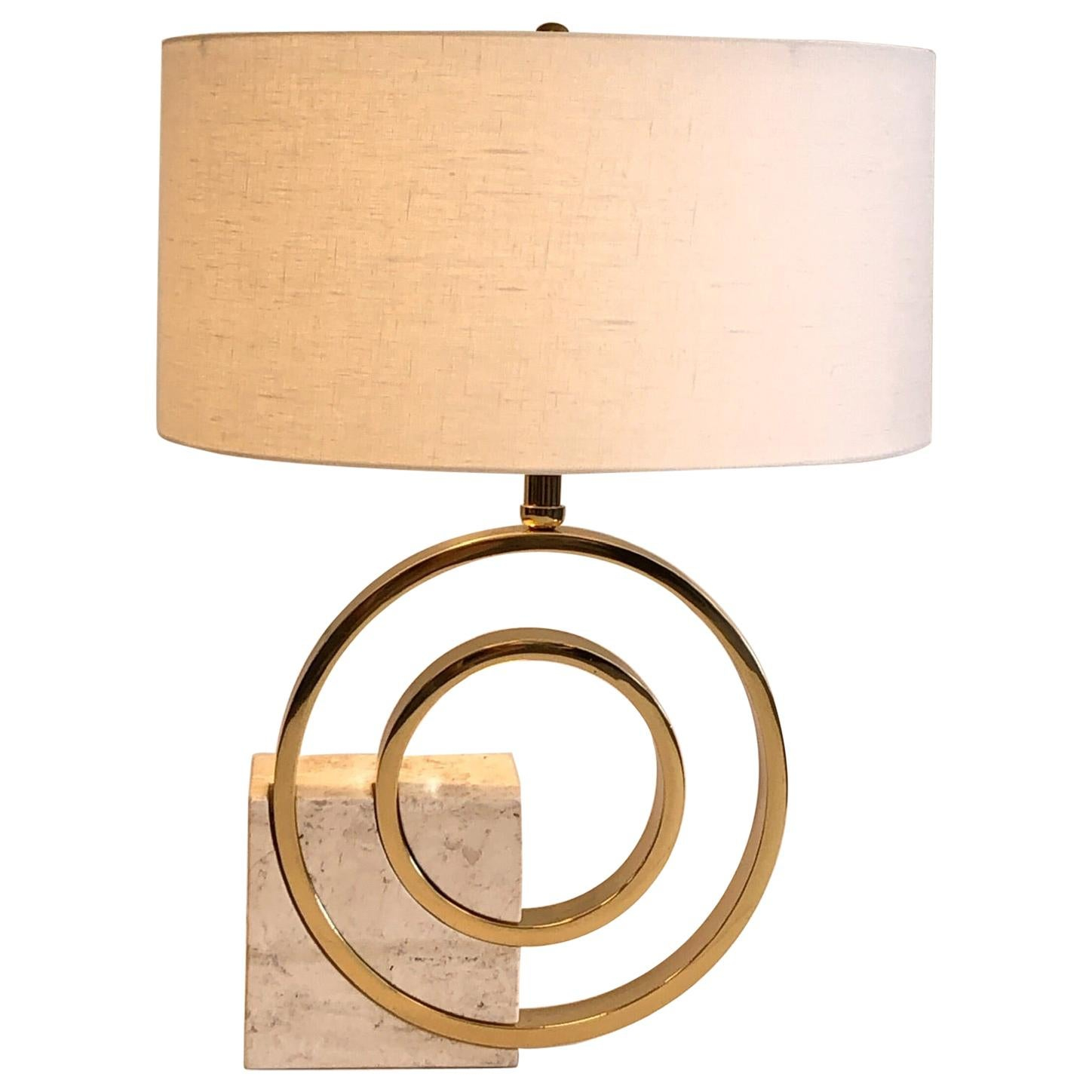 Italian Travertine and Brass Table Lamp by Giovanni Banci