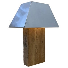 Italian Travertine and Chrome Table Lamp in the Style of Karl Springer
