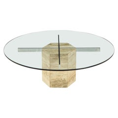 Italian Travertine and Glass Circular Coffee Table