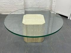 Italian Travertine and Glass-Top Coffee Table