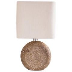 Italian Travertine and Silk Shade Table Lamp by Fratelli Mannelli, Italy, 1970