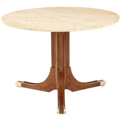 Italian Travertine and Walnut Center Table