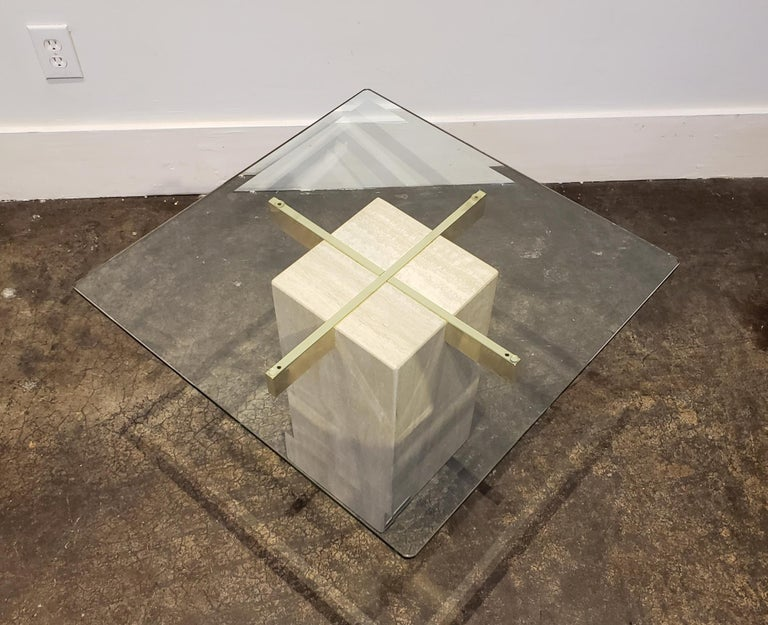 Modern Italian Travertine, Brass and Glass Occasional Side Table by Artedi For Sale