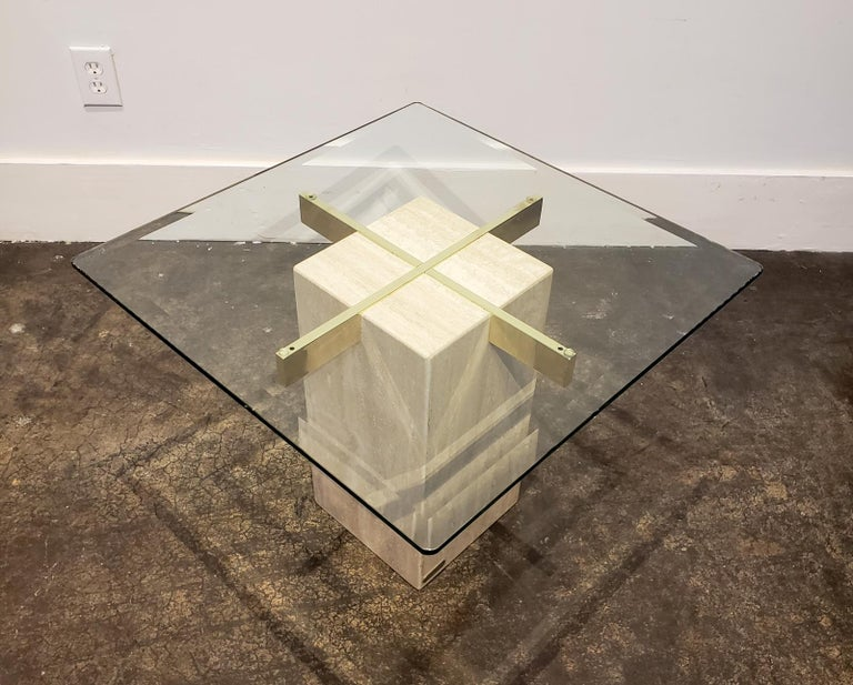 Beveled Italian Travertine, Brass and Glass Occasional Side Table by Artedi For Sale