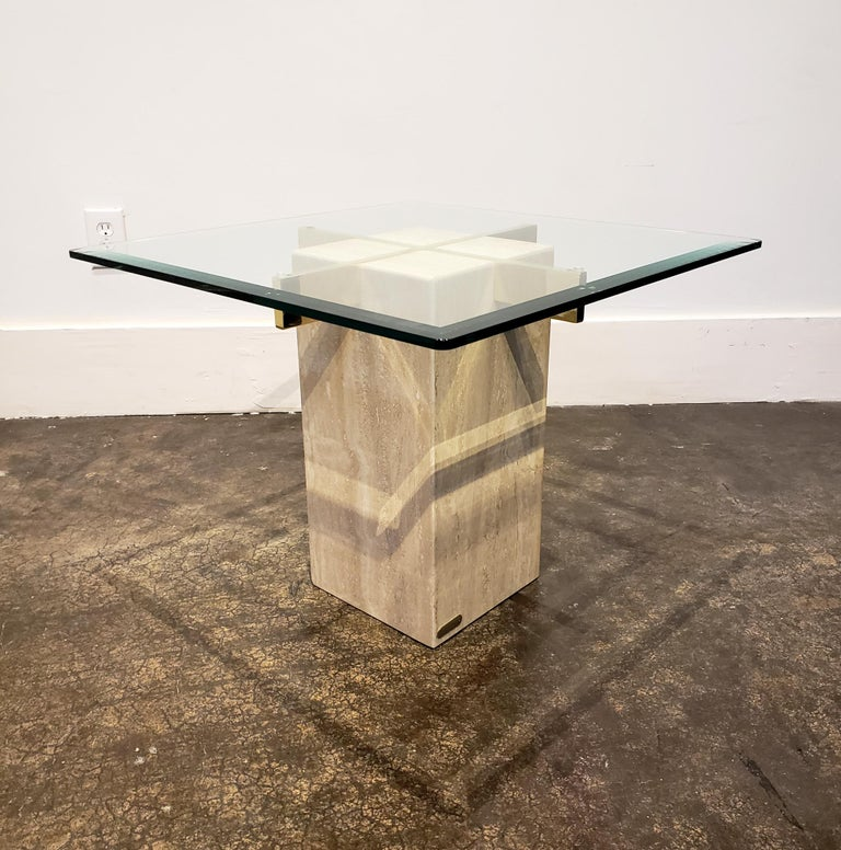 Italian Travertine, Brass and Glass Occasional Side Table by Artedi In Good Condition For Sale In Dallas, TX