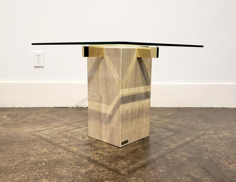 20th Century Italian Travertine, Brass and Glass Occasional Side Table by Artedi For Sale