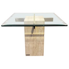 Italian Travertine, Brass and Glass Occasional Side Table by Artedi