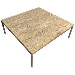 Italian Travertine Coffee Table with Incredible Grain and Chrome Base Midcentury