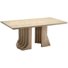 Italian Travertine Dining Table with Layered Legs