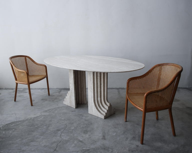 Minimalist Italian Travertine Double Pedestal Dining Table by Carlo Scarpa For Sale