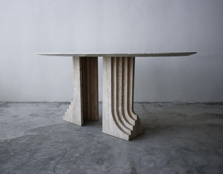 20th Century Italian Travertine Double Pedestal Dining Table by Carlo Scarpa For Sale