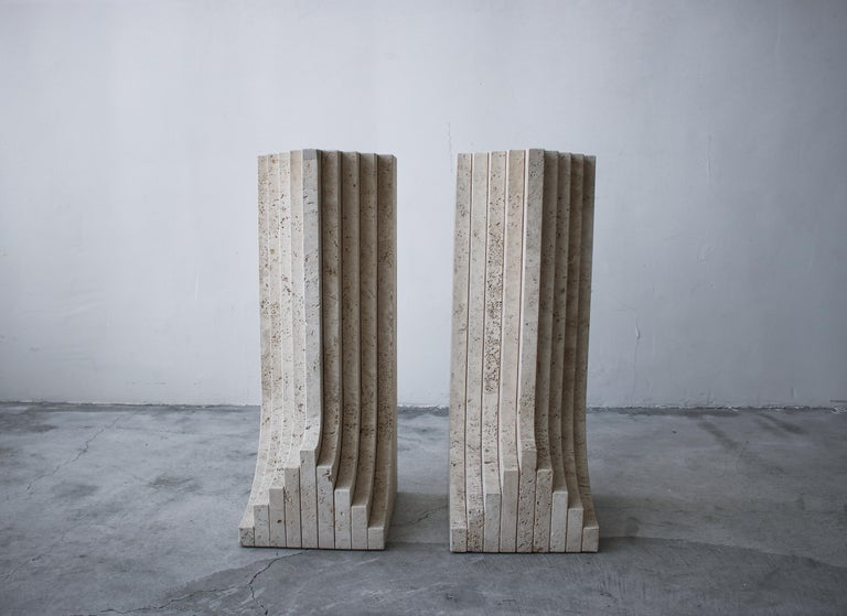 Italian Travertine Double Pedestal Dining Table by Carlo Scarpa For Sale 3