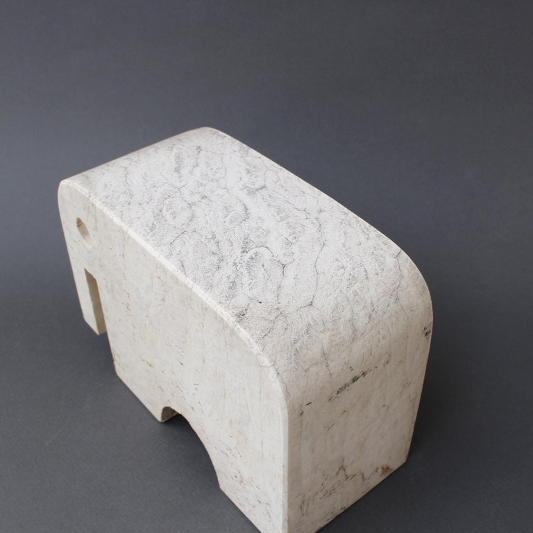 Italian Travertine Elephant Sculpture by Fratelli Mannelli, circa 1970s For Sale 6