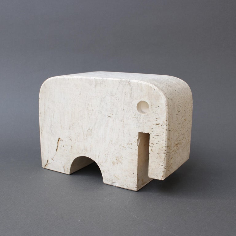 Italian Travertine Elephant Sculpture by Fratelli Mannelli, circa 1970s For Sale 2