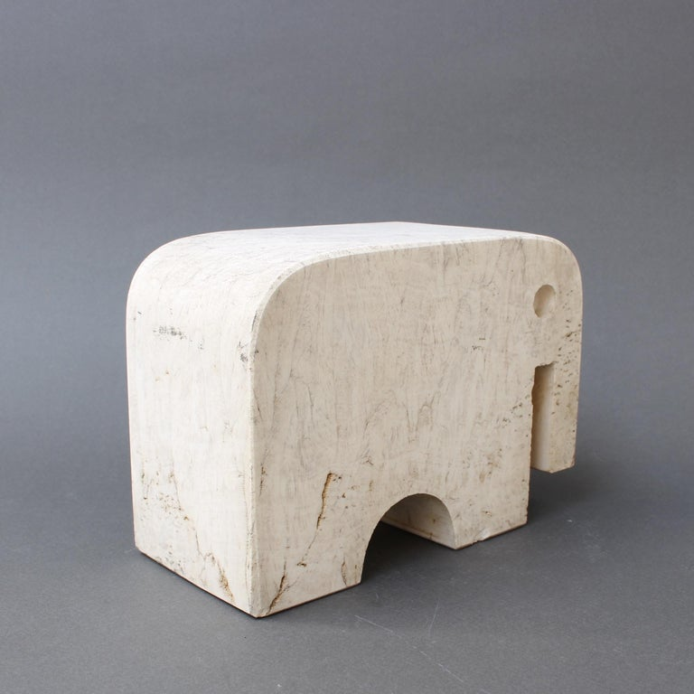 Italian Travertine Elephant Sculpture by Fratelli Mannelli, circa 1970s For Sale 3