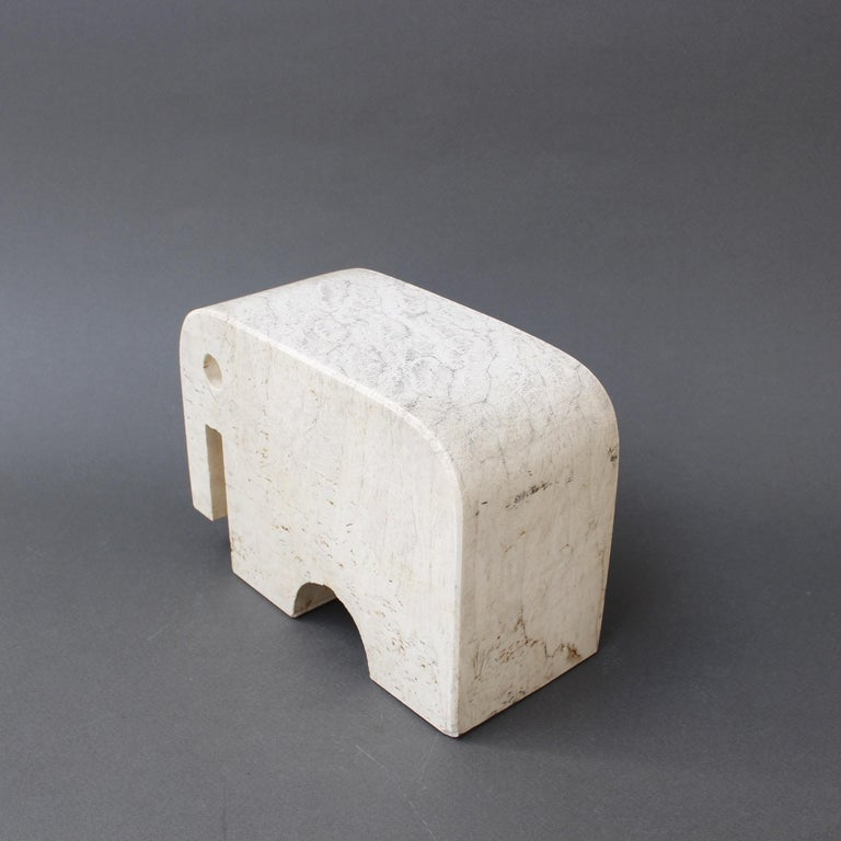 Italian Travertine Elephant Sculpture by Fratelli Mannelli, circa 1970s For Sale 5