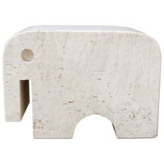 Italian Travertine Elephant Sculpture by Fratelli Mannelli, circa 1970s
