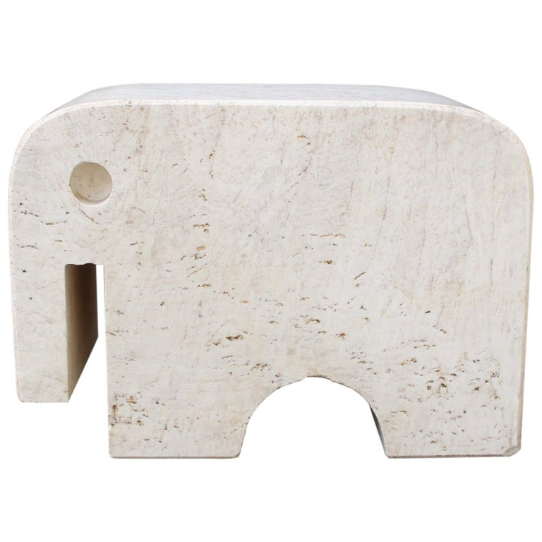 Italian Travertine Elephant Sculpture by Fratelli Mannelli, circa 1970s For Sale