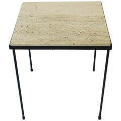 Italian Travertine Marble and Black Metal Square Side or End Table