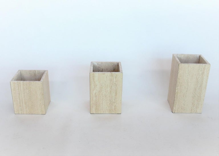 Italian Travertine Marble Coffee Tables from the 1970s, Set of Three For Sale 4