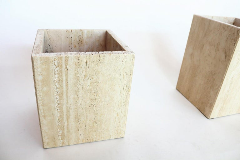 Italian Travertine Marble Coffee Tables from the 1970s, Set of Three For Sale 5