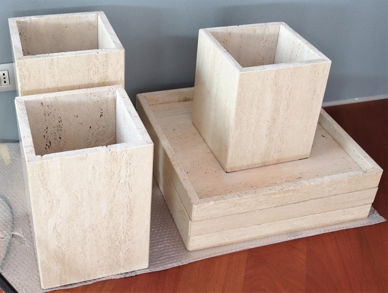 Italian Travertine Marble Coffee Tables from the 1970s, Set of Three For Sale 10